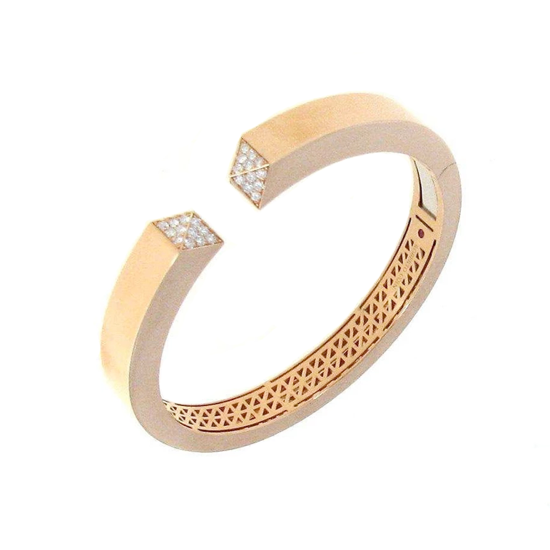 18k Rose Gold Sauvage Pave Diamond Bangle Bracelet from Roberto Coin