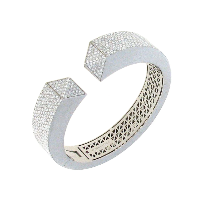 18k White Gold Sauvage Prive Pave Diamond Bangle Bracelet from Roberto Coin