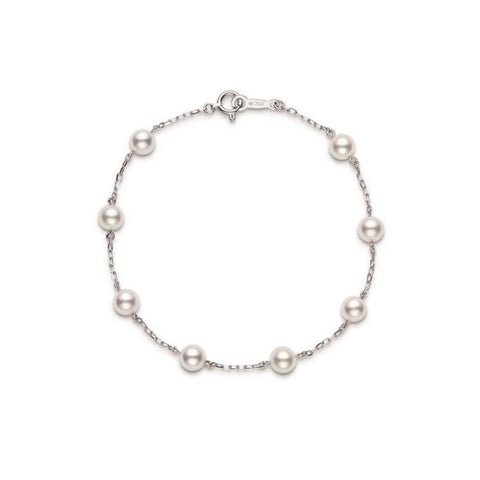 Akoya Cultured Pearl Station Bracelet in White Gold