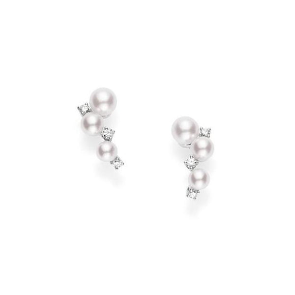 Bubbles Earrings with Akoya Cultured Pearls and Diamonds