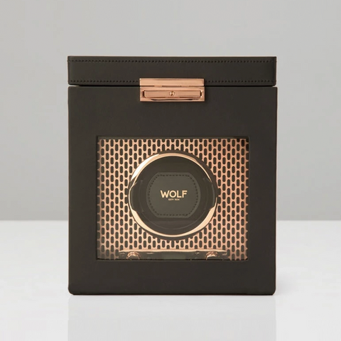 COPPER/BLACK AXIS SINGLE WATCH WINDER WITH STORAGE