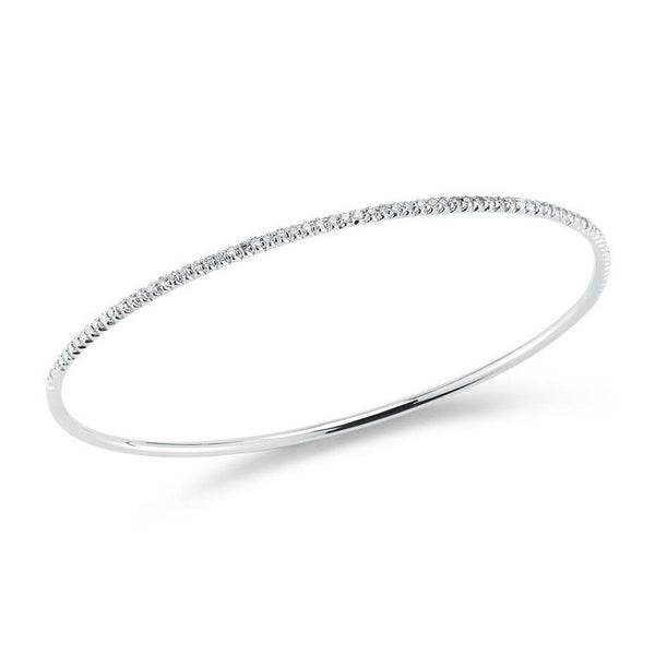 18k White Gold Oval Diamond Bangle
