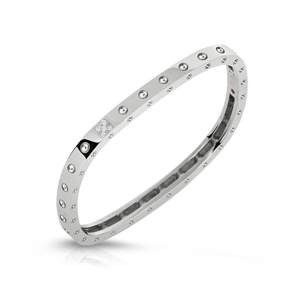 18k White Gold Diamond Pois Moi Bangle - Alvin Goldfarb