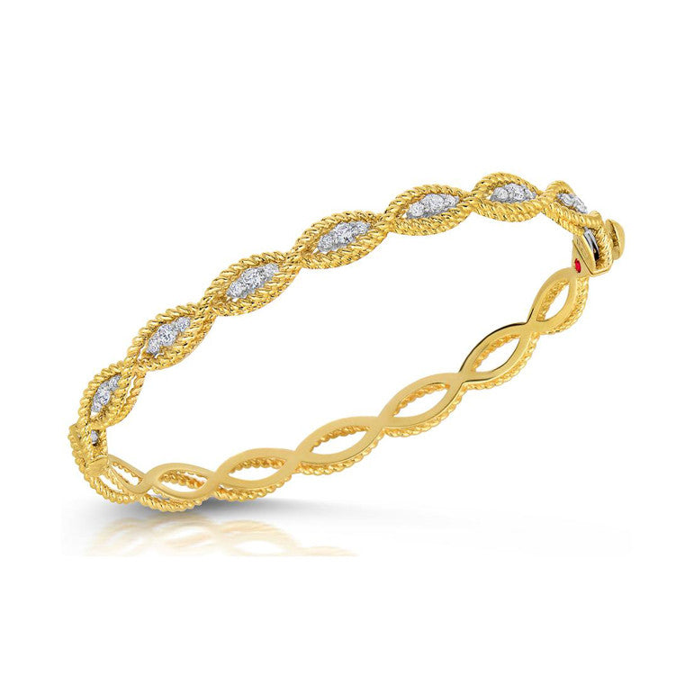 18k Yellow Gold Diamond Barocco Bangle