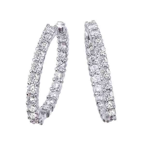 18k White Gold Inside Out Diamond Hoop Earring - Alvin Goldfarb
