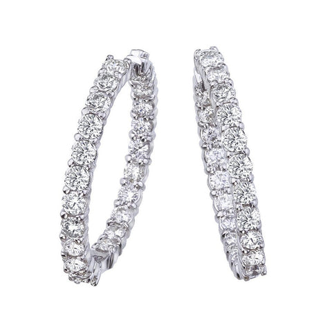 18k White Gold Inside Out Diamond Hoop Earring