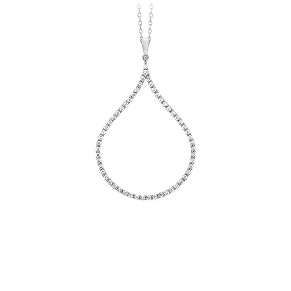 18k White Gold Diamond Drop Necklace - Alvin Goldfarb