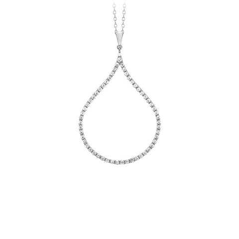 18k White Gold Diamond Drop Necklace