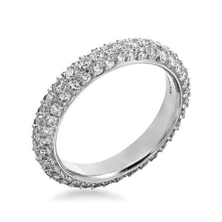 Platinum Pave Diamond Three Row Band