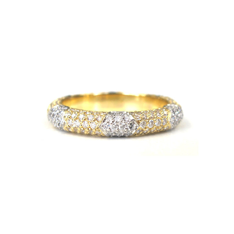 18k Yellow Gold and Platinum Crown Lace Diamond Band