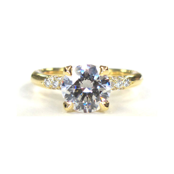 18k Yellow Gold Petite Crown Lace Diamond Ring - Alvin Goldfarb