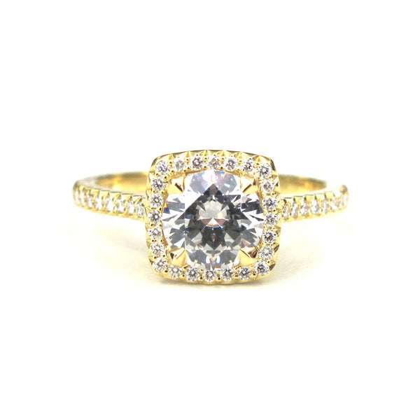 18k Yellow Gold Royal Trios Cushion Diamond with Halo Ring - Alvin Goldfarb