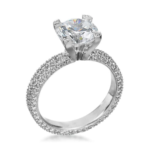 Platinum Flat Two Row Diamond Ring