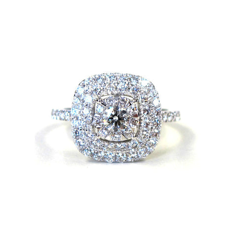 18k White Gold Diamond Double Halo Bouquet Ring