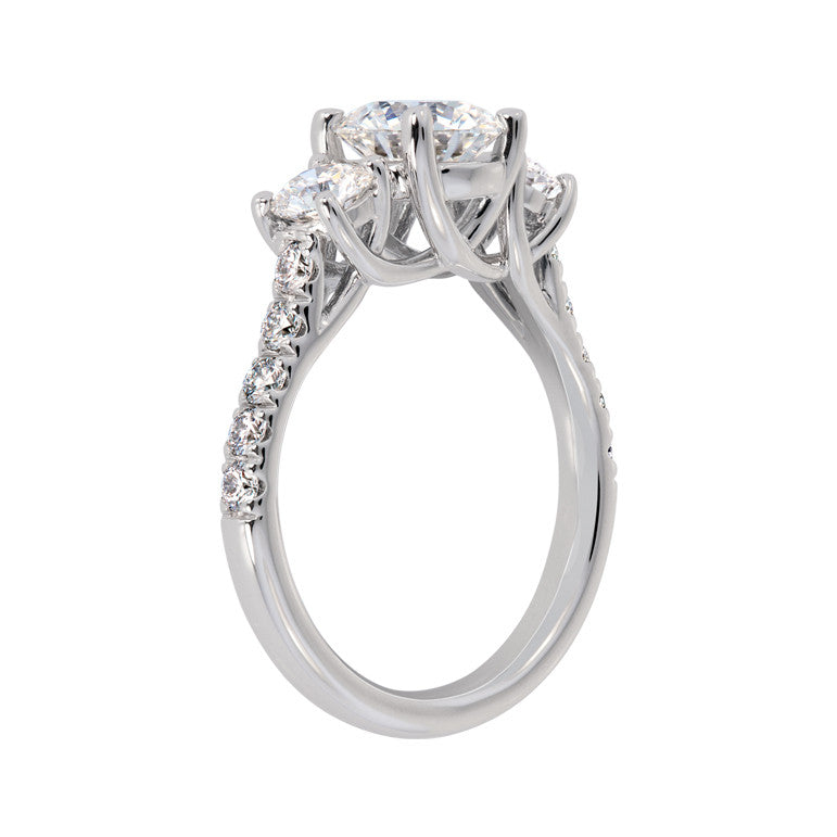 18k White Gold Lilac Trellis Diamond Ring Mounting