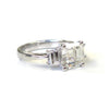 Platinum Asscher Cut Diamond Ring with Trap Diamonds