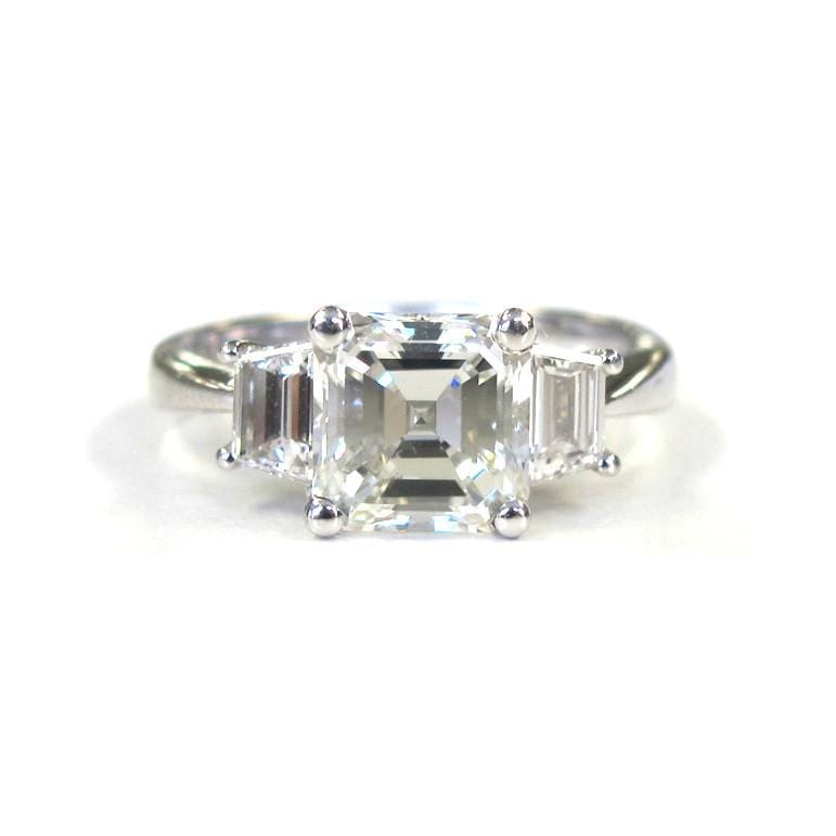 lee de engagement asscher double gallery setting products three avenir diamond stone bijoux ring claw cut