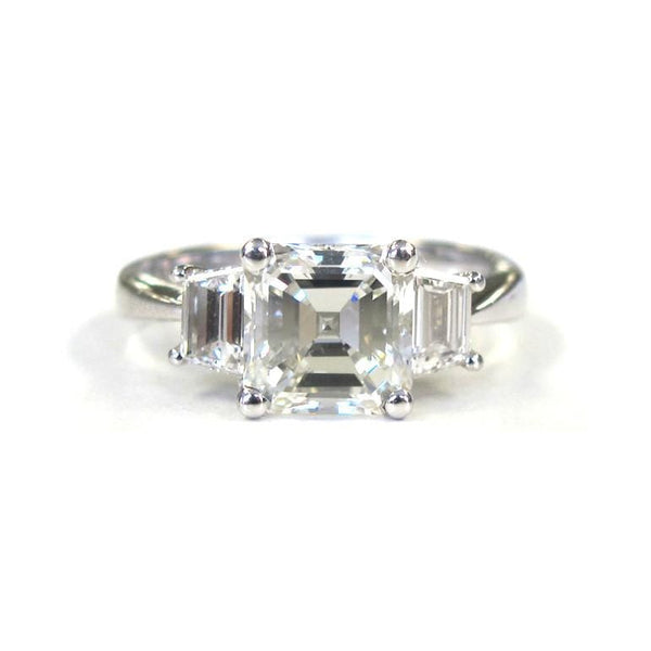 Platinum Asscher Cut Diamond Ring with Trap Diamonds - Alvin Goldfarb