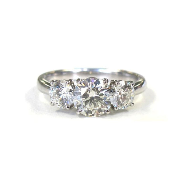 Platinum Three Stone Round Diamond Ring - Alvin Goldfarb