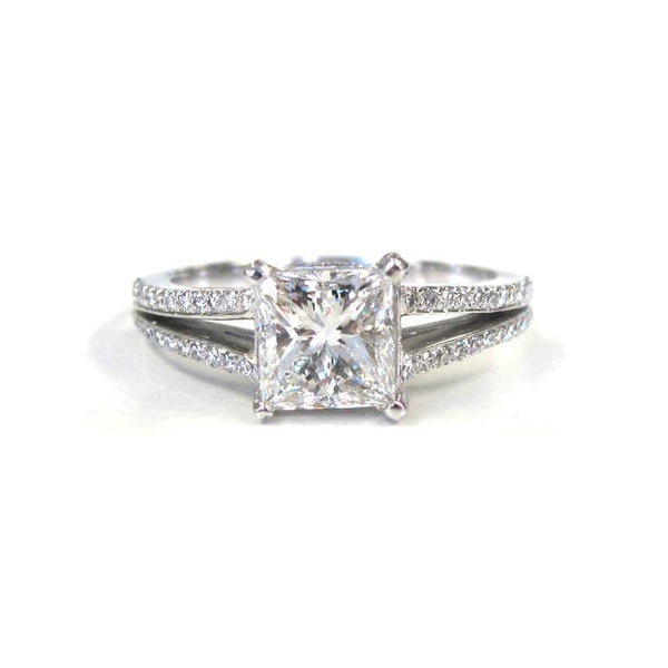 Platinum Square Diamond with Pave Diamond Double Row Split Shank Ring - Alvin Goldfarb