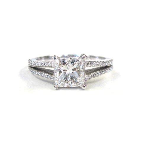 Platinum Square Diamond with Pave Diamond Double Row Split Shank Ring