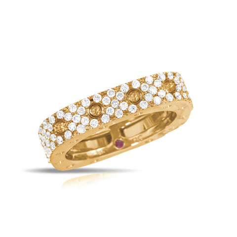 18k Yellow Gold Pave Diamond Pois Moi Ring