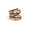 18k Rose Gold Black and White Diamond Open Weave Ring