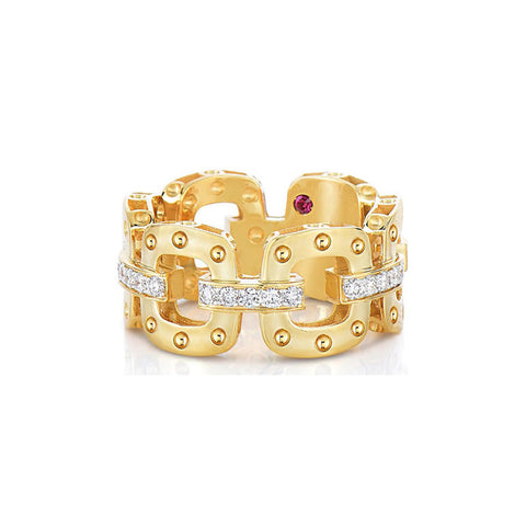 18k Yellow Gold Pois Moi Diamond Band