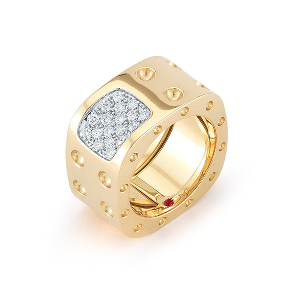 18k Yellow Gold Pois Moi Diamond Square Ring