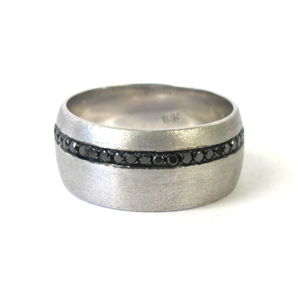 18k White Gold Black Diamond Band