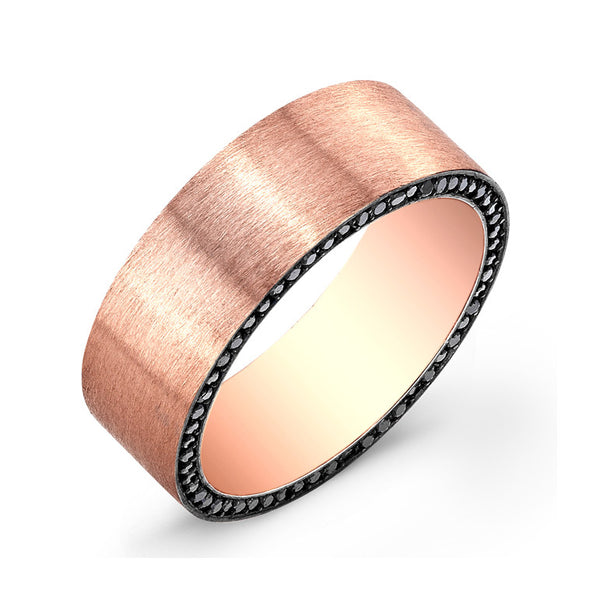 18k Rose Gold Black Diamond Band - Alvin Goldfarb