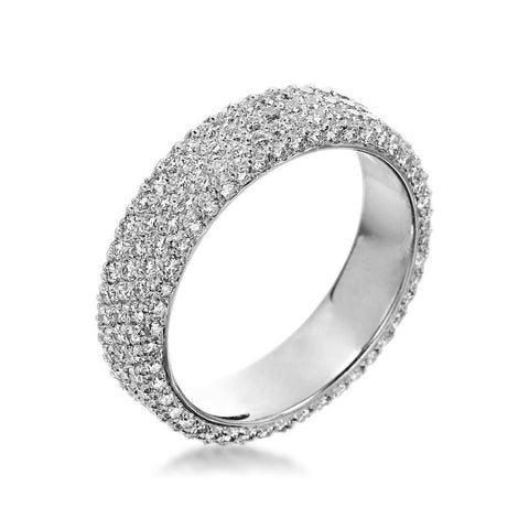 Platinum Pave Three Row Diamond Band