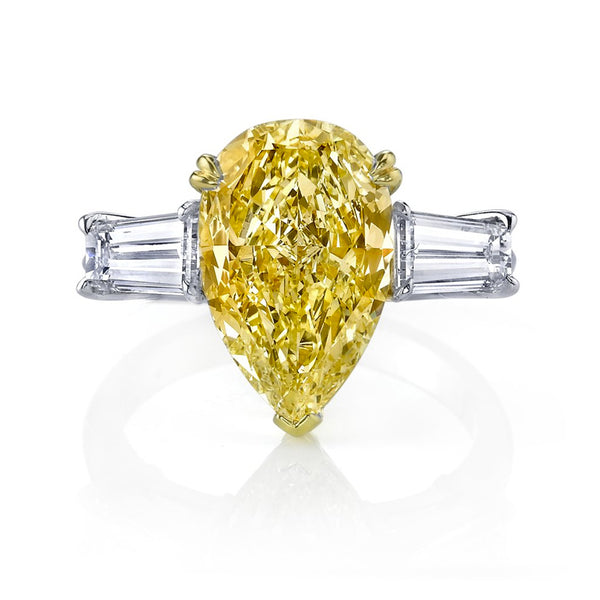 Internally Flawless Fancy Yellow Pear Shape Diamond Ring with Baguettes