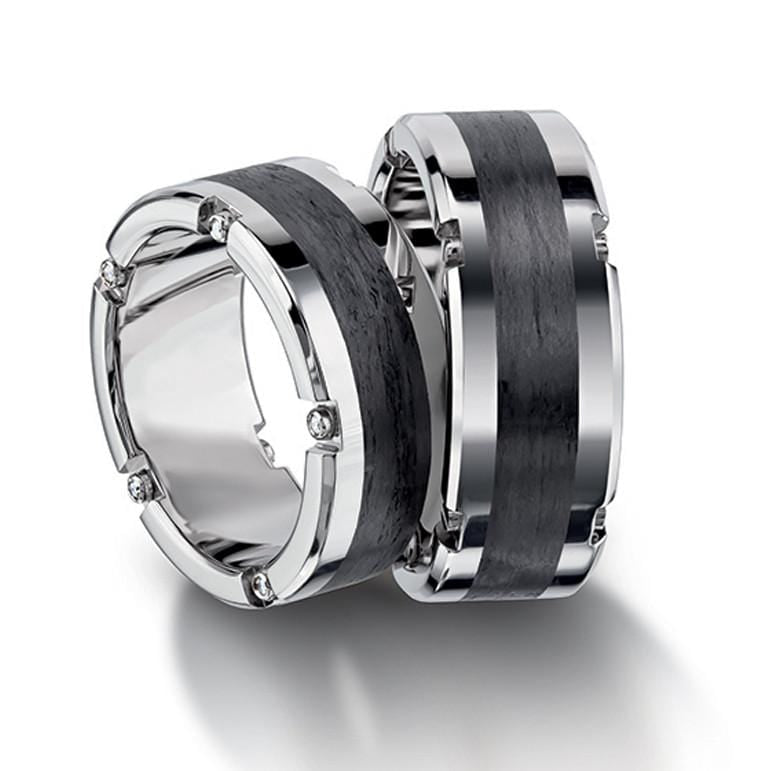 Platinum And Carbon Fiber Menu0027s Wedding Band