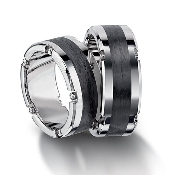 Platinum and Carbon Fiber Men's Wedding Band