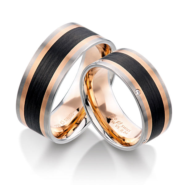 18k Rose and White Gold with Carbon Fiber Men's Wedding Band