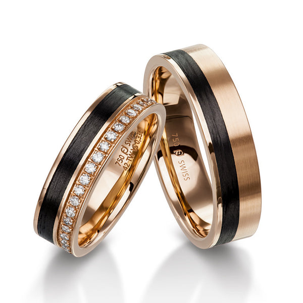 18k Rose Gold and Carbon Comfort Fit Band - Alvin Goldfarb