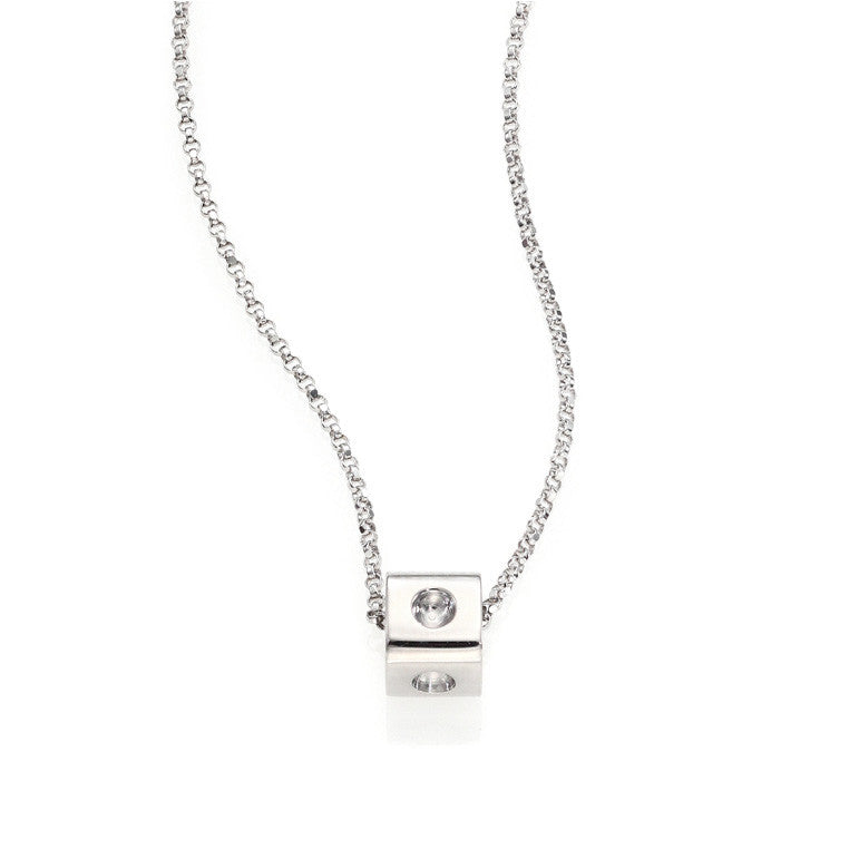 18k White Gold Pois Moi Single Cube Necklace