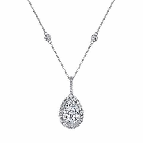 Platinum Pear Shaped Diamond Pendant in Halo with Diamond Chain