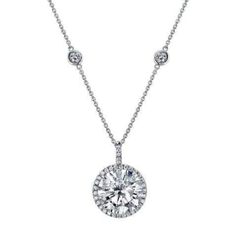 18k Round Diamond Pendant with Halo on Diamond By the Yard Chain