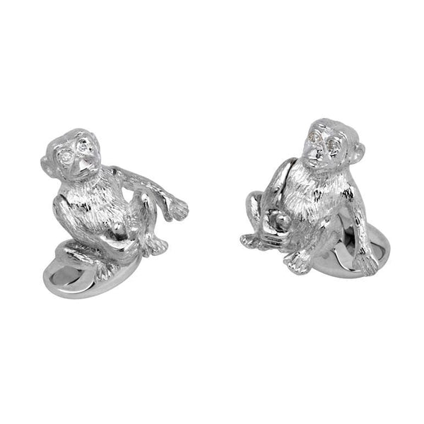 Sterling Silver Cheeky Monkey with Diamond Eyes Cufflinks - Alvin Goldfarb