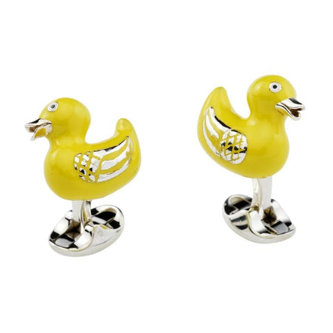Sterling Silver and Yellow Enamel Rubber Duck Cufflinks