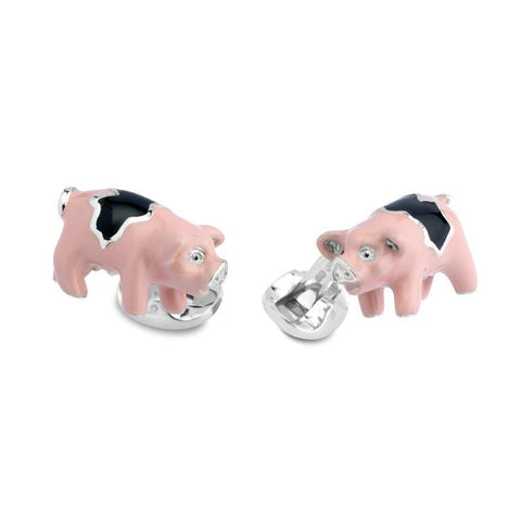 Sterling Silver and Enamel Pig Cufflinks