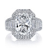 Platinum Radiant Cut Diamond Ring with Micro Pave and Fancy Shape Mounting