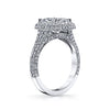 Platinum Cushion Cut Diamond pillowed in Pave Diamonds