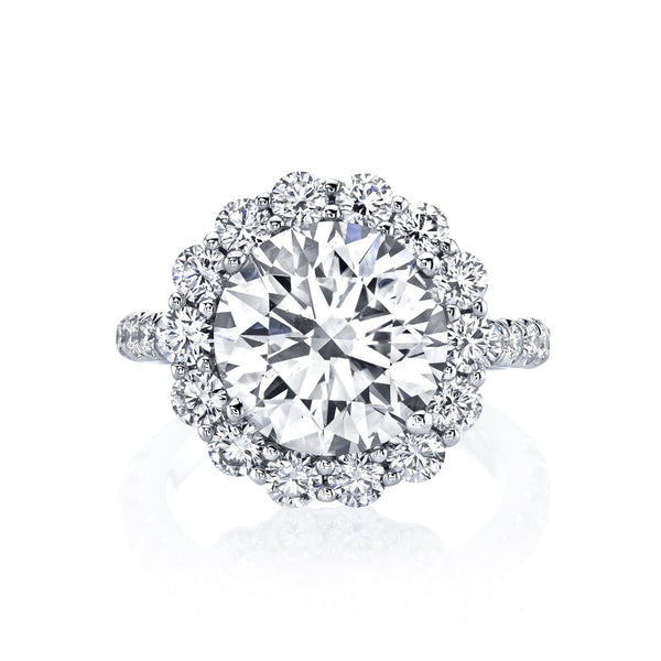 Shared Prong Diamond Halo Ring with Round Diamond Center