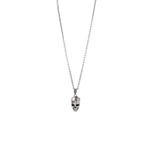 John Varvatos Sterling Distressed Skull Pendant on link chain