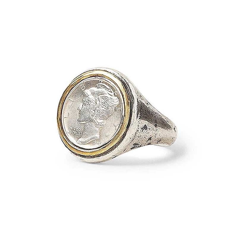 John Varvatos Sterling and Brass Mercury Dime Ring
