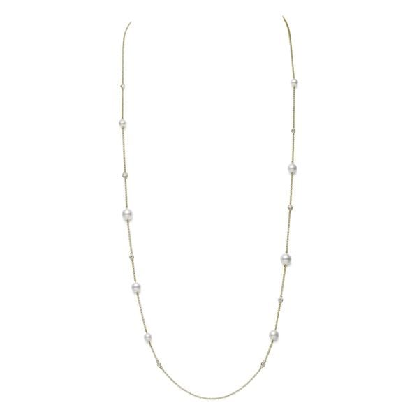 18K YELLOW GOLD ALTERNATING AKOYA CULTURED PEARL AND DIAMOND NECKLACE