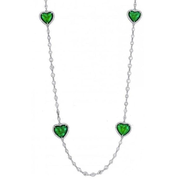 One of a Kind- Platinum Heart Shaped Emeralds surrounded by Diamonds on a hand made chain